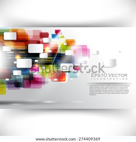 eps10 vector multicolor overlapping round corner rectangles geometric business background - stock vector
