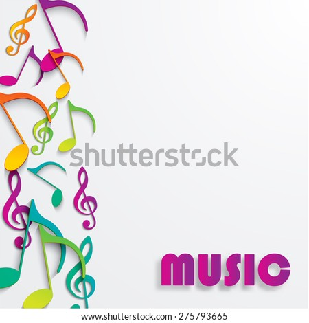 eps10 vector music note background design colored paper
