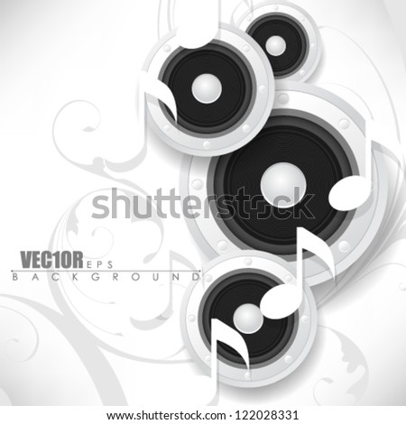 eps10 vector music note speaker and foliage design - stock vector