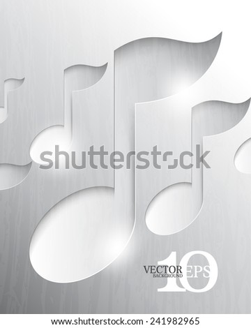 eps10 vector musical notes chrome metallic background - stock vector