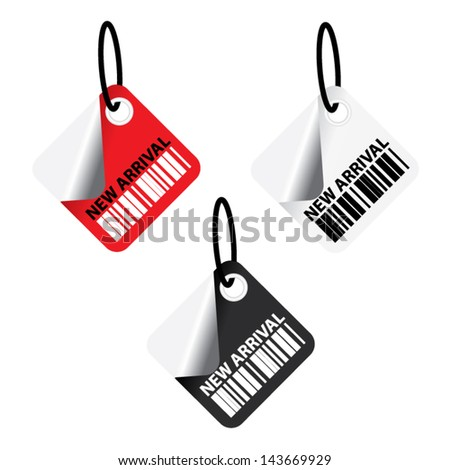 EPS10 Vector:New arrival tags on read,black and white barcode tags - stock vector