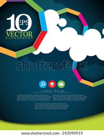 eps10 vector nine sided multicolor frame on paper clouds with icons business background - stock vector
