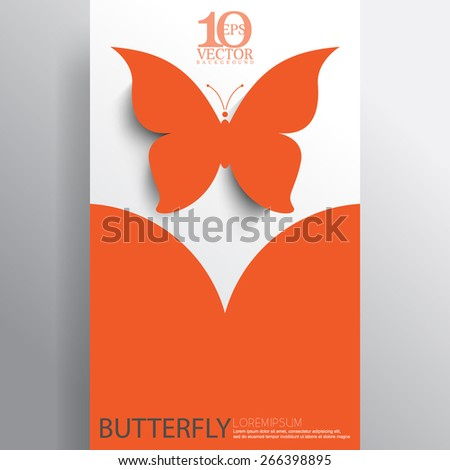 eps10 vector orange silhouette butterfly business layout background - stock vector
