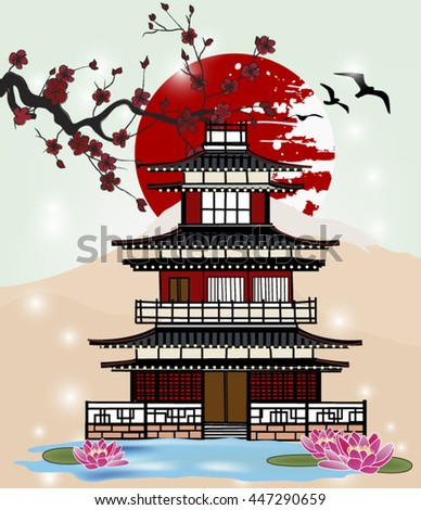 Eps10 vector - Oriental picture with traditional castle, pond and sakura branch - stock vector