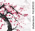 EPS 10 vector - oriental style painting, cherry blossom in spring on a crumpled paper - stock vector