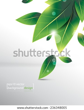 eps10 vector overlapping falling green leaves background - stock vector