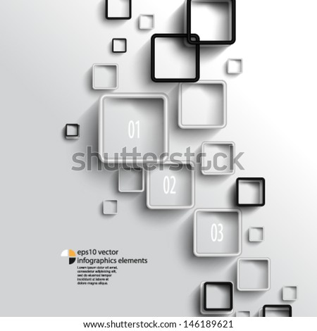 eps10 vector overlapping geometric squares infographics background - stock vector