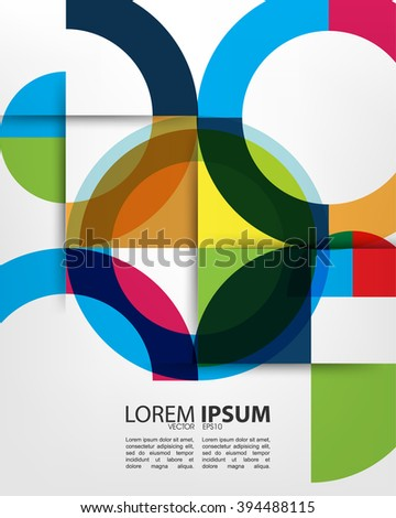eps10 vector overlapping multicolored geometric shape circle abstract design - stock vector