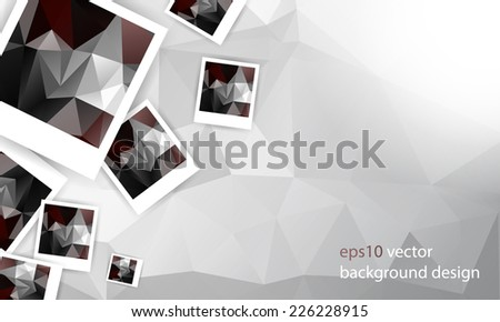eps10 vector overlapping photo paper and geometric shape elements background - stock vector