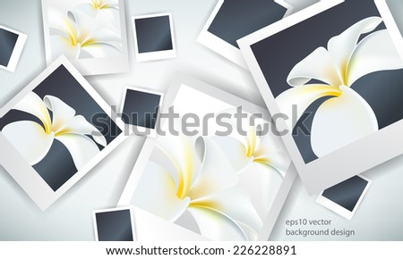 eps10 vector overlapping photo paper with flower elements background - stock vector