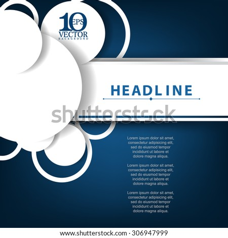eps10 vector overlapping white silhouette circle and rings banner business background - stock vector
