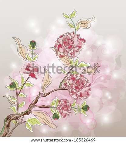 Eps10 vector - Peony branch on a beautiful watercolor background