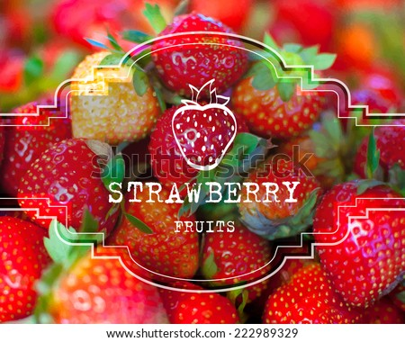 eps10 vector photo realistic postcard label strawberry fruits business background - stock vector