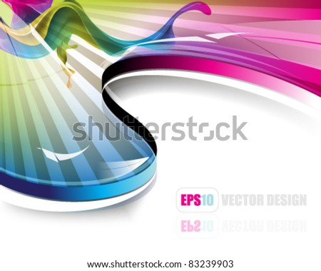 eps10 vector rays and waves background design - stock vector
