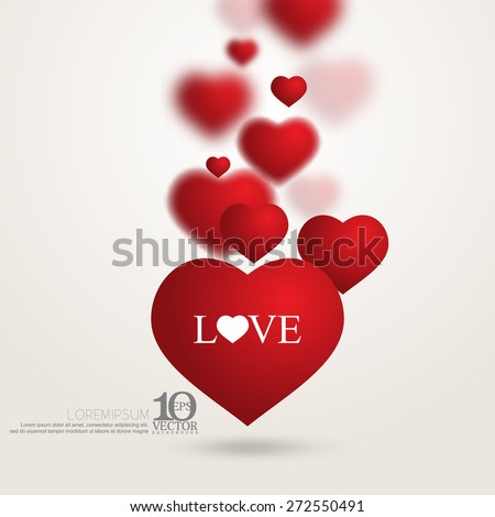 eps10 vector red floating overlapping love heart valentines day background - stock vector