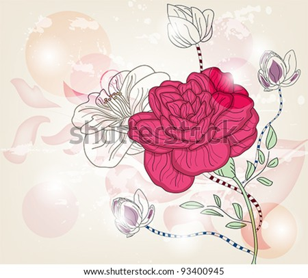 Eps 10 vector - romantic postcard with a big rose and space for text - layers separated - easily editable