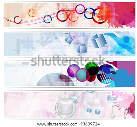 Eps 10 vector - set of abstract colorful banners - stock vector