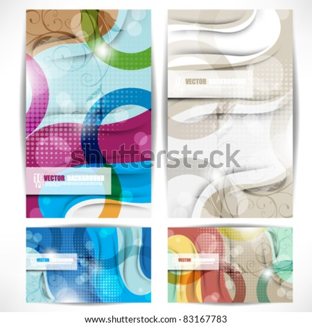 eps10 vector set of elegant and colorful banners background - stock vector