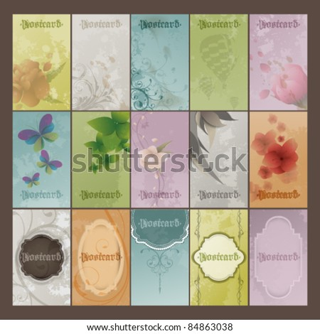 eps10 vector set of vintage postcards - stock vector