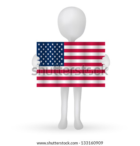 EPS Vector 10 - small 3d man hands holding a USA flag - stock vector