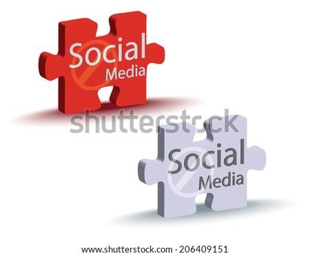 EPS Vector 10 - social media puzzle in gray color - stock vector