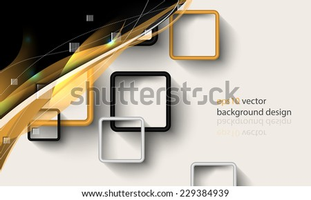 eps10 vector square window frames with golden wave elements business background - stock vector