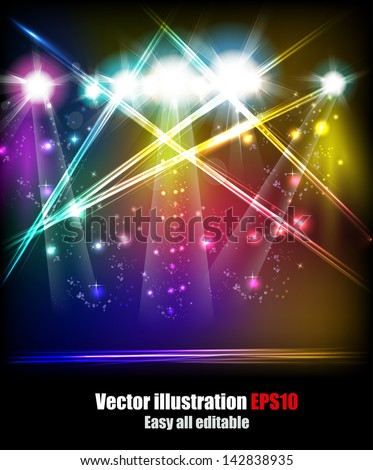 EPS10 Vector Stage Lights, easy all editable - stock vector
