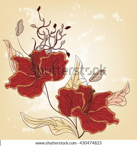 Eps10 vector - Summer floral design with hibiscus flowers - stock vector
