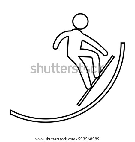 eps 10 vector thin line Snowboard halfpipe sport icon. Winter activity pictogram for web, print, mobile. Black athlete sign isolated on gray. Hand drawn competition symbol. Graphic design clip art