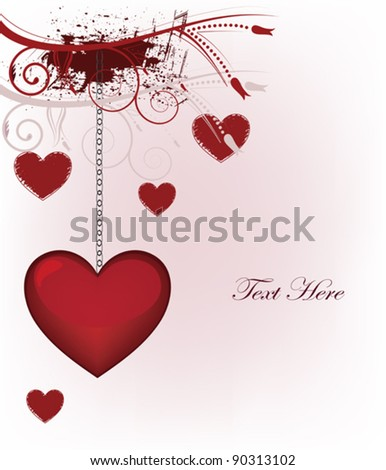 Eps 10 vector - Valentine postcard with grunge decoration and space for text - stock vector