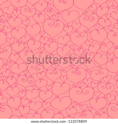 Eps 10 vector valentine seamless pattern with stylized artistic hand drawn hearts.