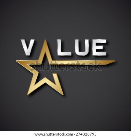 EPS10  vector value golden star inscription icon - stock vector