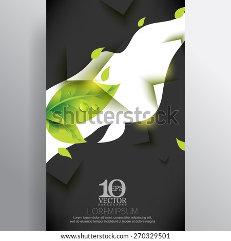 eps10 vector water droplets green leaves nature white wave banner business background - stock vector