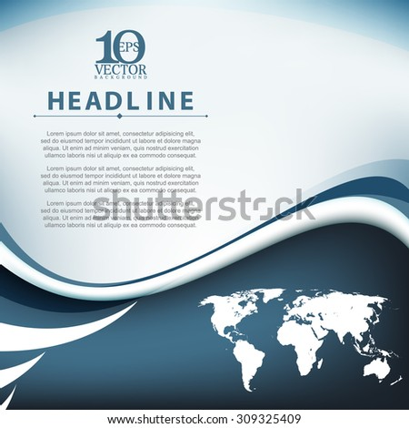 eps10 vector wave bent lines world map elements frame corporate business background - stock vector
