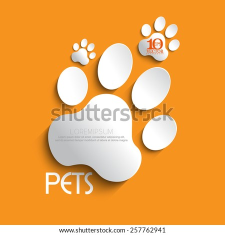eps10 vector white paw footprint with shadow - stock vector