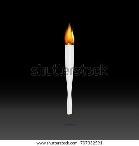 Eps 10 Vector White Torch Burning Stock Vector 707332591 Shutterstock
