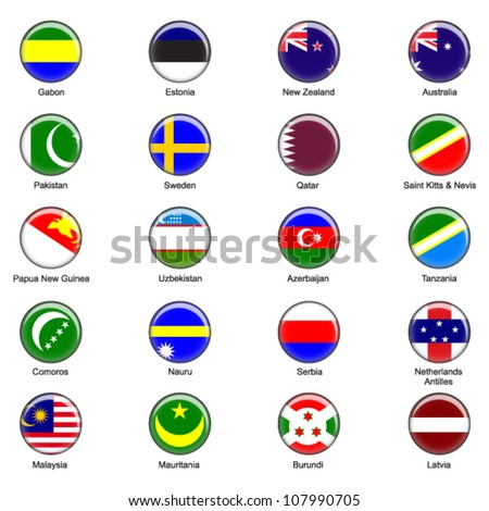 EPS10 Vector World Flag Buttons - Pack 7