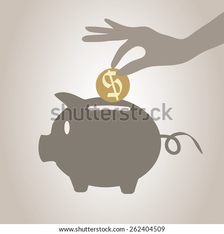 Eps 8 vectorial illustration of ceramic piggy bank hand with a coin over it on brown grey background. Flat style vector icon, money savings concept symbol. Financial growth, retirement pension fund.  - stock vector
