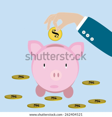 Eps 8 vectorial illustration of colorful pink piggy bank with hand with a dollar coin on blue background. Flat style vector icon money saving concept symbol. Financial growth, retirement pension fund. - stock vector