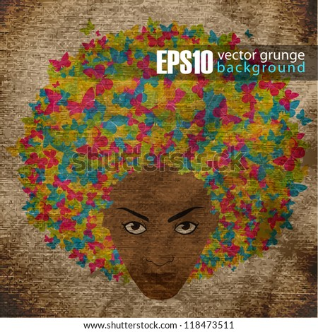 EPS10 vintage background with abstract woman head - stock vector