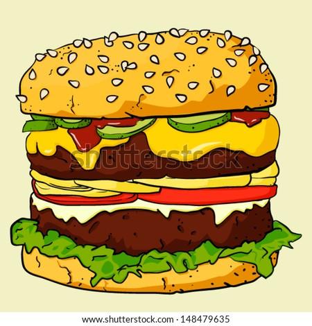 EPS10 vintage background with cartoon Ham Burger - stock vector