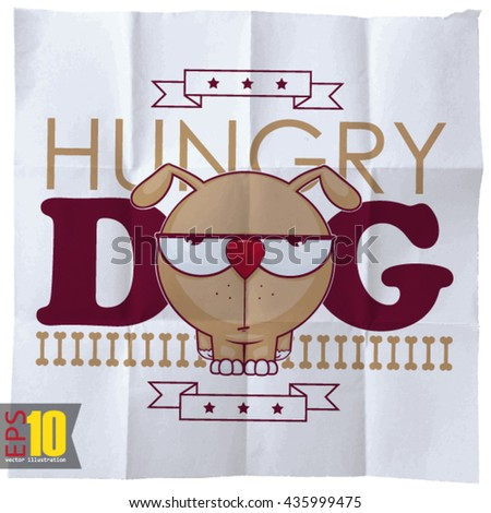 EPS10 vintage background with hungry cartoon doggy