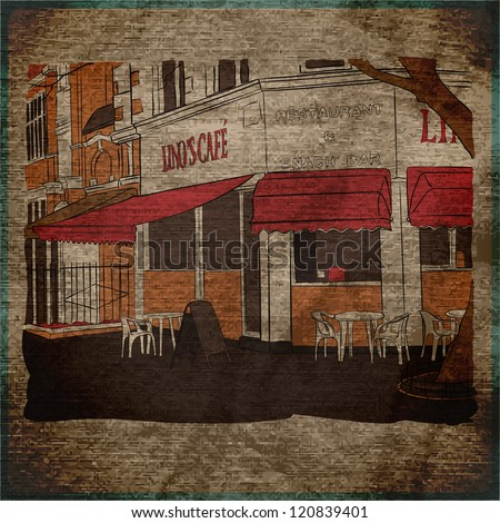 EPS10 vintage background with street cafe view - stock vector