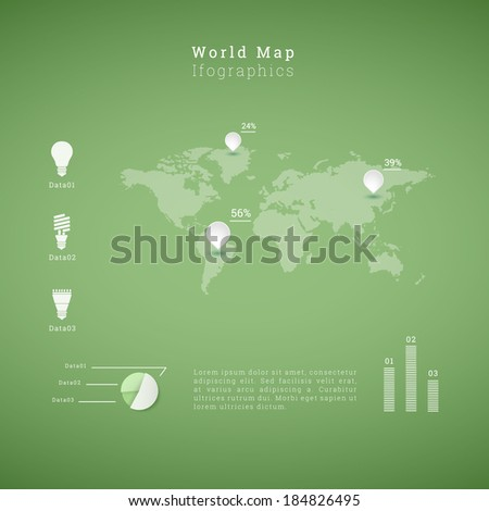 EPS10 world map illustration with light bulb icon set and diagrams for infographics, presentation, report - green version - stock vector