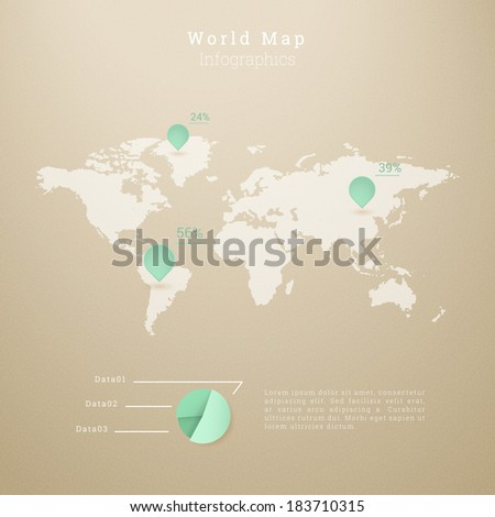 EPS10 world map illustration with pie chart for infographics, presentation, report - green and brown version  - stock vector