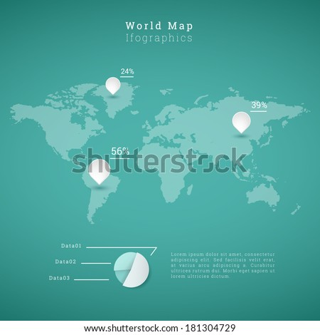 EPS10 world map illustration with pins and pie chart for infographics, presentation, report - green version - stock vector
