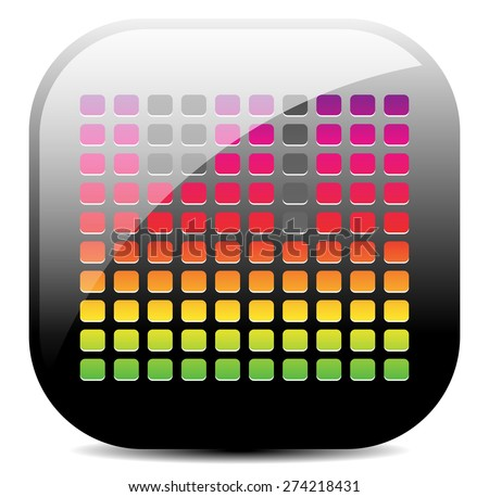 EQ, Equalizer icon with colorful bars. Graphics for audio, music concepts. Black glossy version. - stock vector