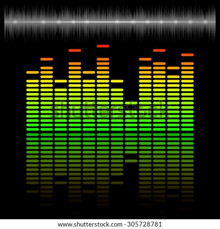 Eq, equalizer scale with reflection and chart, 2d vector on dark background, eps 10 - stock vector