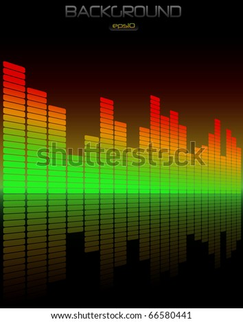 Equalizer background with glow - stock vector