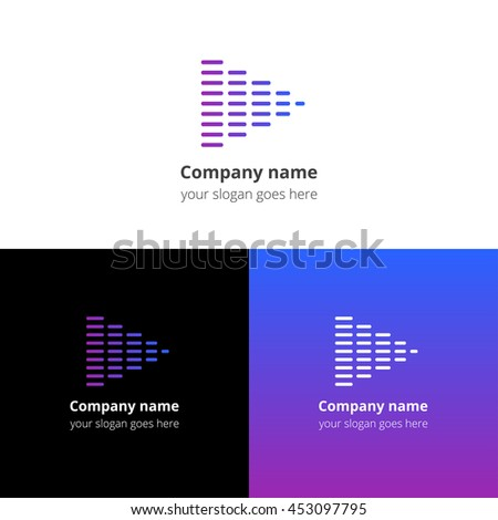 Equalizer beat into play music sound icon, flat logo vector template. Abstract symbol and button with blue-violet gradient for music service or company. - stock vector